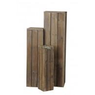 zuil hout set van 3 stuks middel bruin