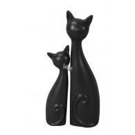 kattenpaar keramiek zwart set van 2 stuks op=op