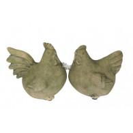 haan en kip terracotta hoog 15 cm bruin/groen