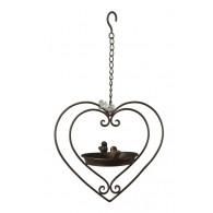 vogelbad hanger in hart en 2 vogels metaal