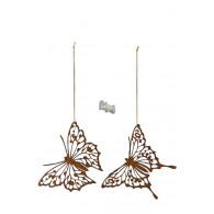 hanger vlinder 30x22 cm 2 assortiment design roest