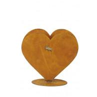 hart (2x) op plaat hoog 32.5 cm roest