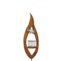 windlicht steker metalen vlam met  glas diameter hoog 35 cm roest (vanaf week 28 leverbaar)