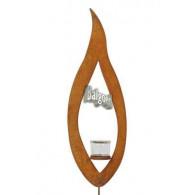 windlicht steker metalen vlam met  glas diameter hoog 56cm roest