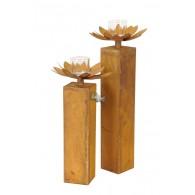 windlicht metalen bloem met glas op zuil set van 2 stuks roest