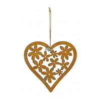 hanger hart met bloemen 22.5xh22cm roest
