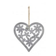hanger hart met bloemen 22.5xh22cm grijs