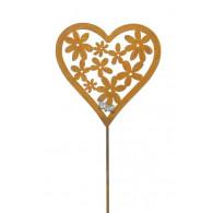 steker hart met bloemen hoog 110 cm roest