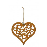 hanger hart met harten 22.5xh22cm roest