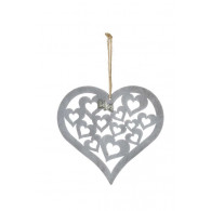 hanger hart met harten 22.5xh22cm grijs