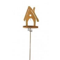 """vogel voederhuis steker """"huis met plaat"""" hoog 141 cm roest (vanaf week 25 leverbaar)"""