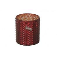windlicht glas diameter 14.5 cm mat rood (vanaf week 29 leverbaar)