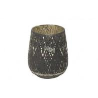 windlicht glas diameter 15 cm zwart (vanaf week 29 leverbaar)
