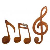 hanger muzieknoten metaal roest hoog 20/12/11 cm set van 3 stuks