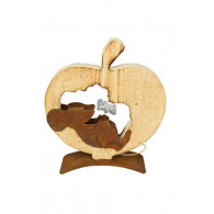 appel met muis hout en metaal hoog 28 cm