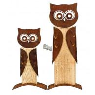 uil greta hout en metaal hoog 32 cm