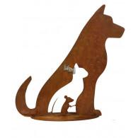hond kat en muis op plaat metaal roest hoog 40 cm