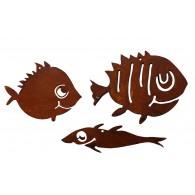 hanger vissen metaal roest lang 13/12/10 cm set van 3 stuks