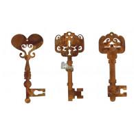 hanger sleutel metaal roest hoog 11.5 cm set van 3 stuks