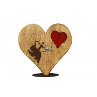 hart op bodemplaat metaal en hout roest hoog 30 cm en rood hart