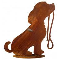 hond met riem op plaat metaal roest hoog 30 cm