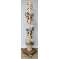 display voor hangers roest compleet met 12 haken en 4 zwenkwielen hoog 2.05 meter