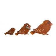 hanger vogel metaal roest breed 12/9/6 cm set van 3 stuks