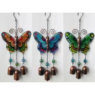 hanger vlinder met bel metaal en glas  3 assortiment kleur