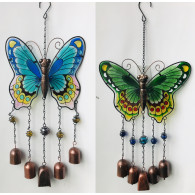 hanger vlinder 44 cm metaal en glas 2 assortiment kleur en design