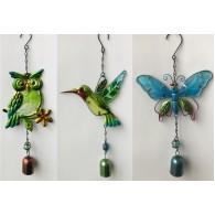 hanger uil kolibrie  en vlinder met bel metaal 3 assortiment design en kleur