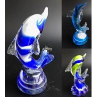 glasfiguur dolfijn 15 cm assortiment kleuren
