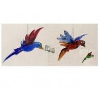 glasfiguur papegaai hangend 3 assortiment kleur