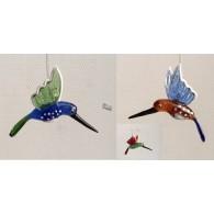 glasfiguur  colibri hangend 3 assortiment kleur
