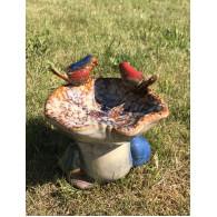 vogelbad keramiek paddenstoel en twee vogels 20 cm