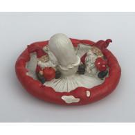 kerstman op paddestoel figuur 16 cm