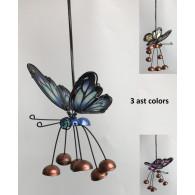 hanger vlinder 35 cm metaal en glas 3 assortiment kleur