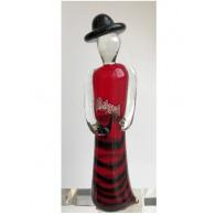 glasfiguur dame 21cm rood