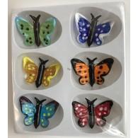 glasfiguur vlinder set van 6 stuks 6 assortiment kleur