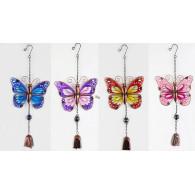 hanger vlinder glas en metaal 4 assortiment