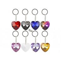 sleutelhanger glas hart 8 assortiment kleur