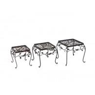 bijzet tafel set van 3 stuks Avis vierkant metaal