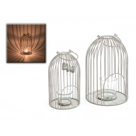 windlicht metalen kooi met  glas hoog 27 cm
