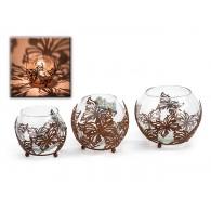 windlicht glas met vlinder diameter 11 cm bruin