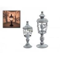 windlicht glas met vlinder hoog 26 cm grijs