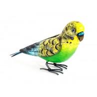 vogel geel groen metaal hoog 13 cm