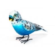 vogel blauw wit metaal hoog 14 cm op=op