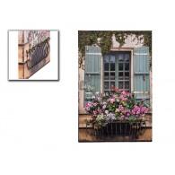 muurdecoratie raam met 3d bloembak van metaal hoog 60 cm