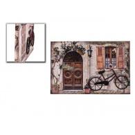muurdecoratie  raam en deur en 3d fiets van metaal hoog 60 cm op=op