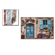 muurdecoratie  raam en deur blauw en 3d fiets van metaal hoog 60 cm