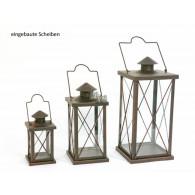 lantaarn set van 3 stuks Antea antiek bruin metaal 20,30 en 40 cm hoog